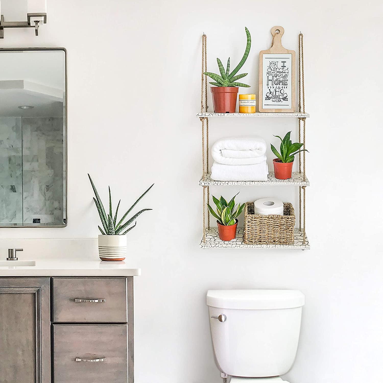 Fresh Hanging Shelves in the Bathroom