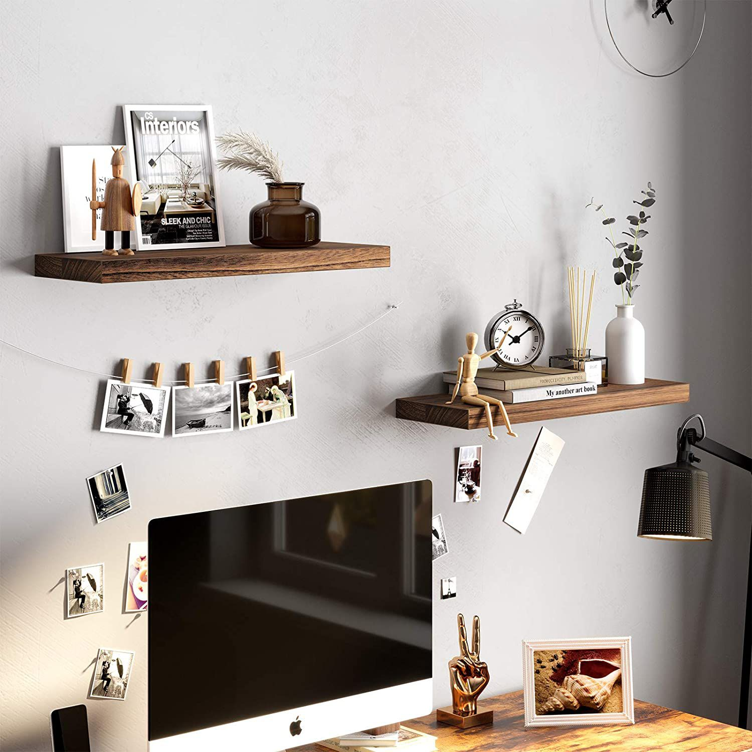 Functional Hanging Shelves in the Workspace